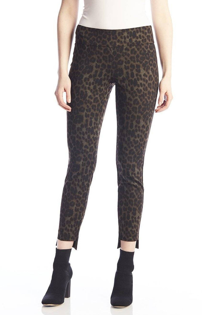 UP! Womens Flatten and Flatter Slim Ankle Pants Style High-Lo Ponte Leopard Print - A Dream Fit