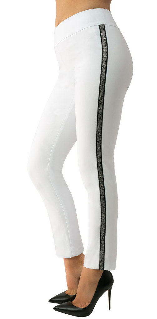 UP Womens Slim Ankle Pants Style 66788 White/Silver Stripe, Techno Stretch, Inseam 28""