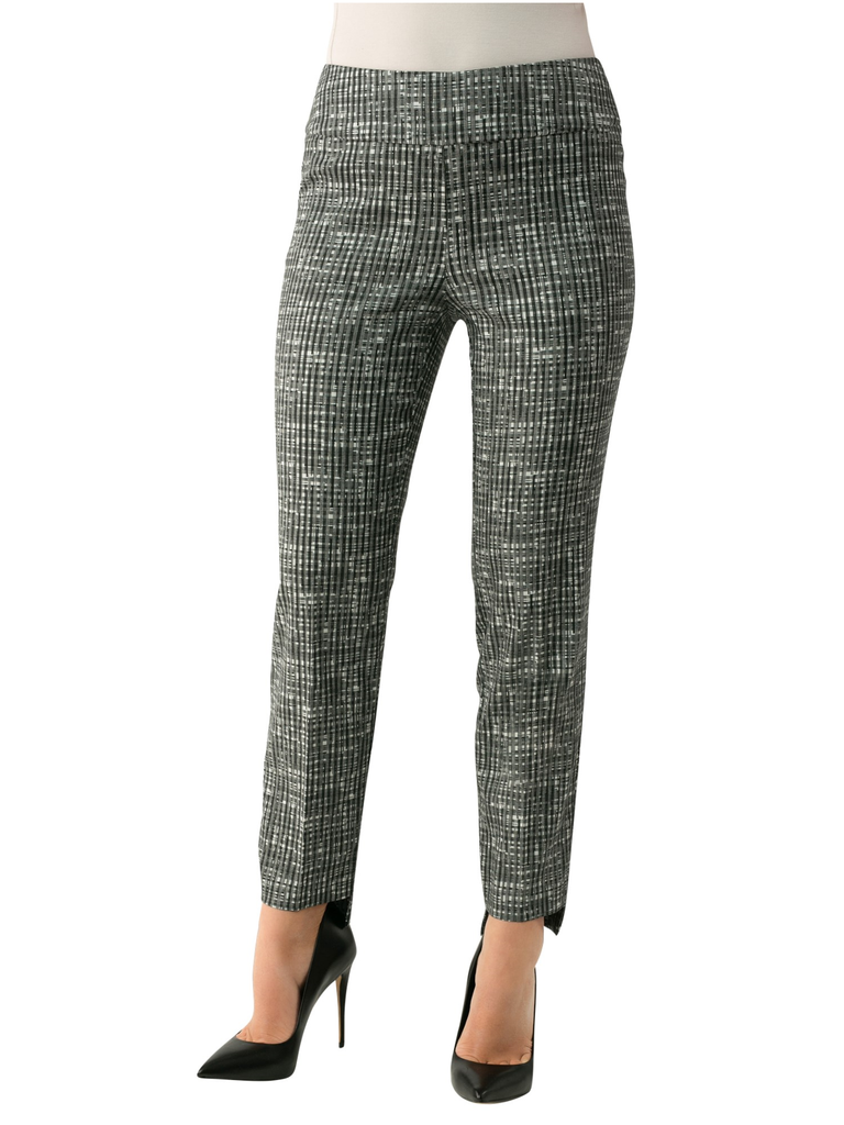 "UP Womens Slim Ankle Pants Style 66796 Weave, Techno Stretch, 28"" Inseam Hi-Lo Opening"