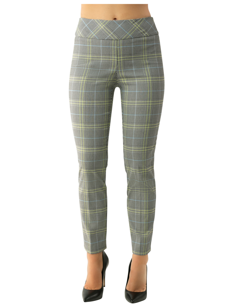 UP Womens Slim Ankle Pants Style 66838 Wales Plaid, Techno Stretch, Inseam 28""