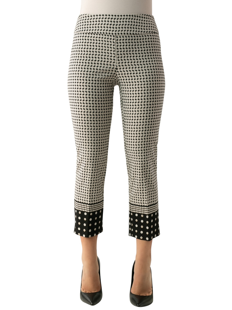 "UP Womens Crop Pants Style 66841, Techno Stretch, 25"" Inseam, Border Print"
