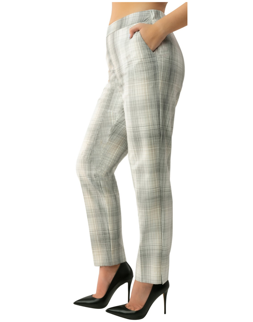 UP Womens Ankle Trouser Style 66859 Haze Plaid, Committed Fabric, Inseam 28""