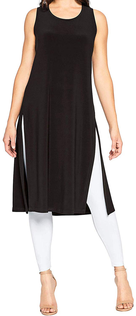 Sympli Womens Sleeveless High Slit Over Under Dress Style 2893