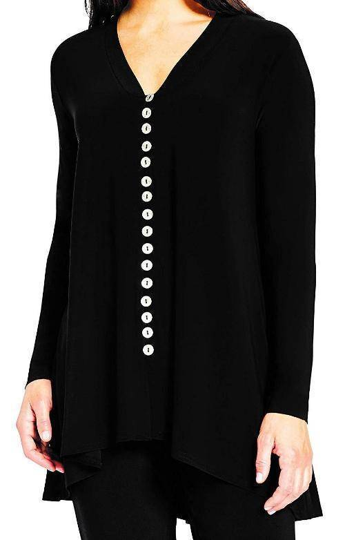 Sympli Womens Duo Diva Tunic, Metal Buttons - a-dream-fit.myshopify.com