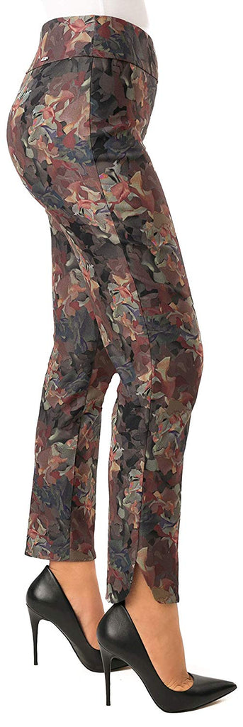 UP Womens Slim Ankle Pants Flatten and Flatter Style 66494 Techno Leaves - a-dream-fit.myshopify.com