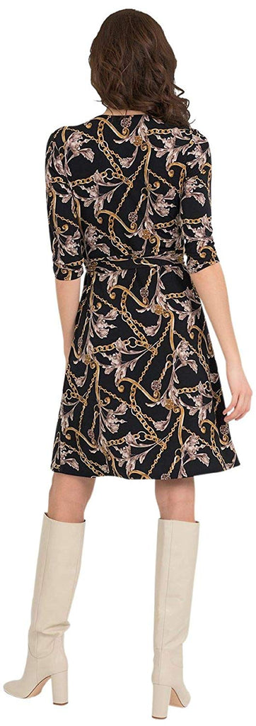 Joseph Ribkoff Womens Gold Floral Wrap Dress Style 194651 - a-dream-fit.myshopify.com