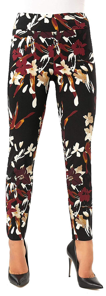 UP Womens Slim Ankle Pants Flatten and Flatter Style 66569 Techno Flora - a-dream-fit.myshopify.com