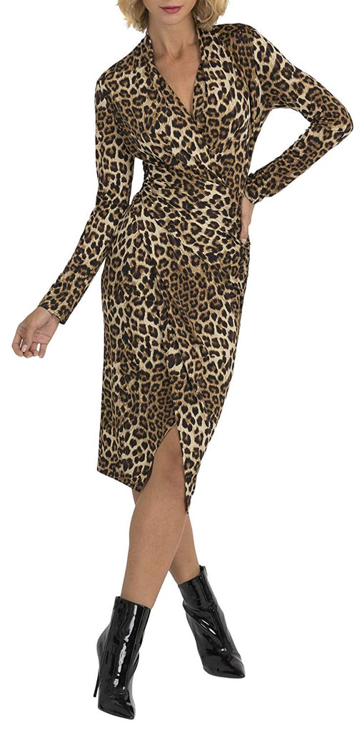 Joseph Ribkoff Womens Leopard Wrap Dress Style 193551 - a-dream-fit.myshopify.com