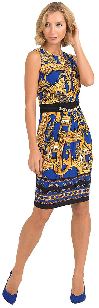 Joseph Ribkoff Womens Royal Chain Dress Style 193632 - a-dream-fit.myshopify.com