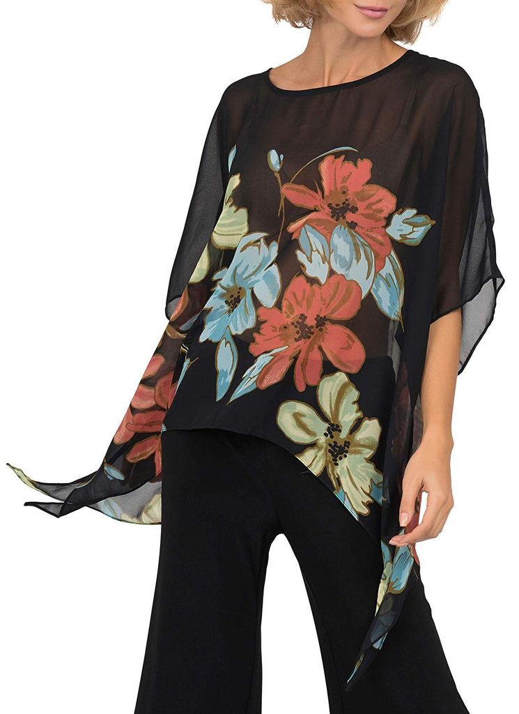 Joseph Ribkoff Womens Floral Top Style 191630 - a-dream-fit.myshopify.com