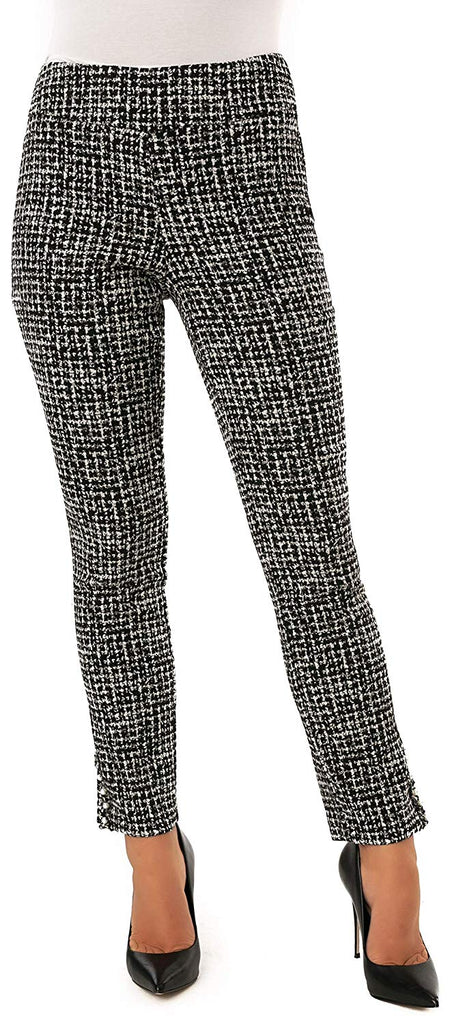 UP Womens Slim Ankle Pants Flatten and Flatter Style 66576 Techno Chanel Color Black/White - a-dream-fit.myshopify.com