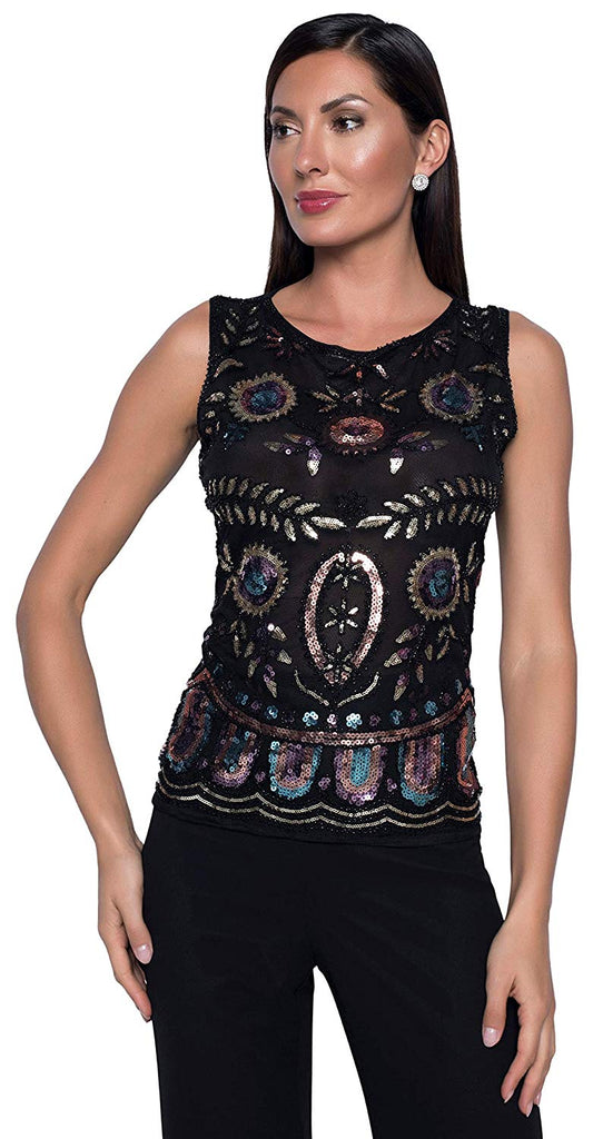 Frank Lyman Womens Knit Sequins Top Style 208106U - a-dream-fit.myshopify.com