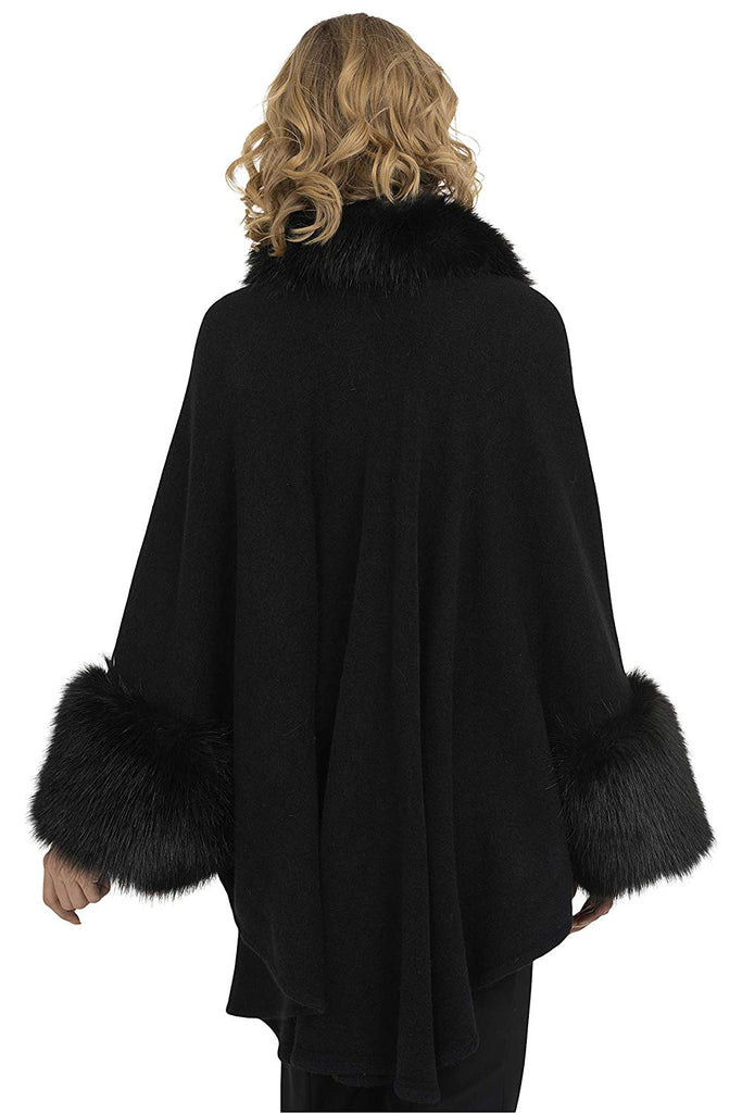 Joseph Ribkoff Womens Cover Up Plush Trim Style 193879 Color Blackl One Size - a-dream-fit.myshopify.com