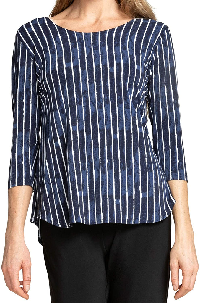 Sympli Womens Go to Classic T Relax Top Style 22110R-2 Painted Lines