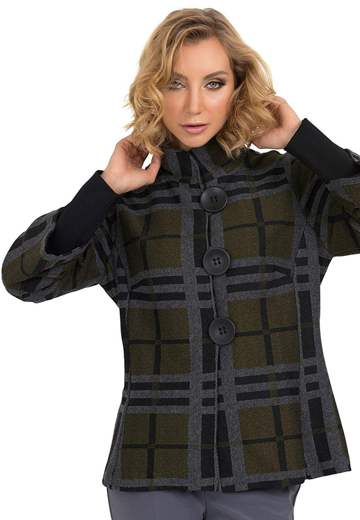 Joseph Ribkoff Womens Plaid Print Jacket - a-dream-fit.myshopify.com