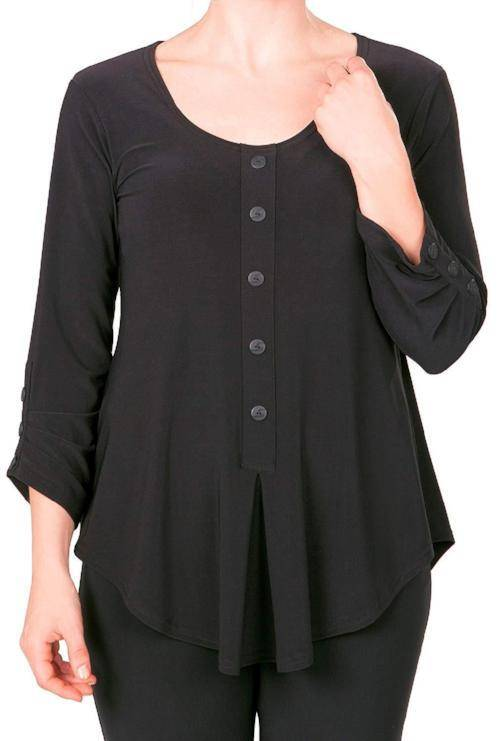 Sympli Womens Unity Henley Top 3/4 Sleeves - A Dream Fit