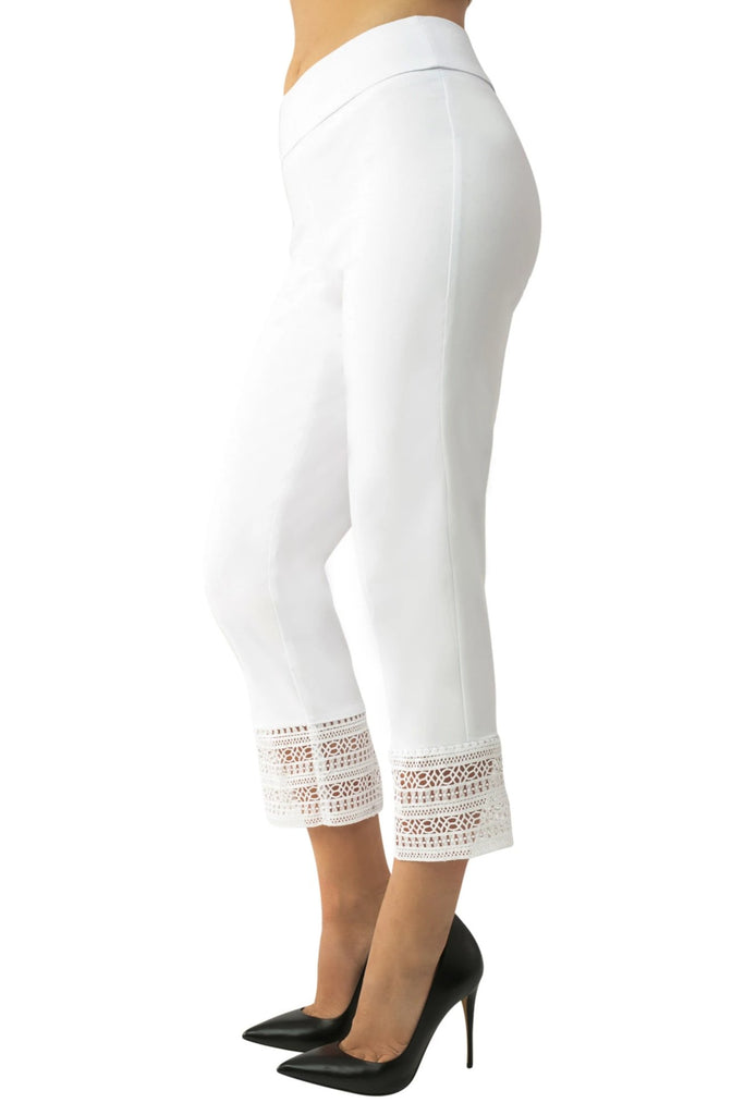 "UP Womens Crop Pants Style 66681, Techno Stretch, 25"" Inseam, Lace Detail"