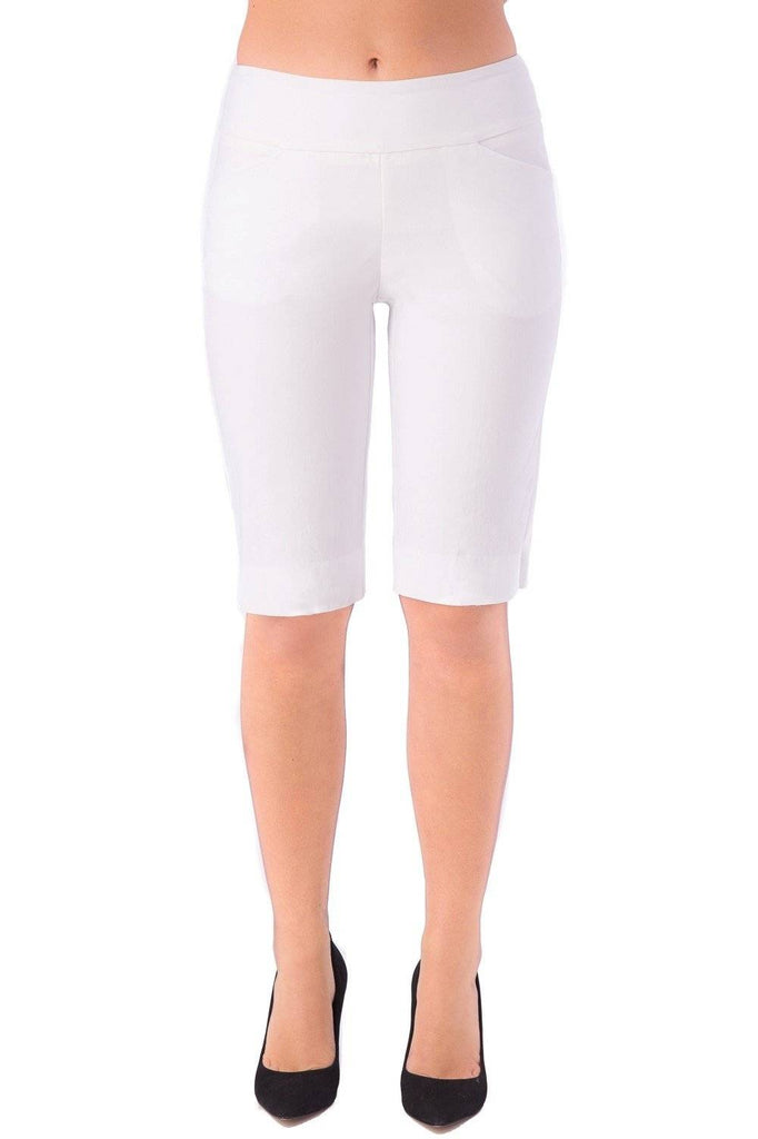 "UP! Women's Flatten and Flatter Bermuda Shorts 13"" Inseam Flex Pockets 