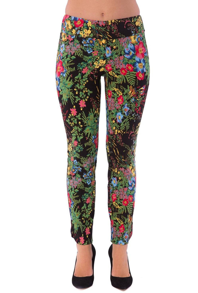 Up! Womens Slim Ankle Pants Amazon Print Color Black - A Dream Fit