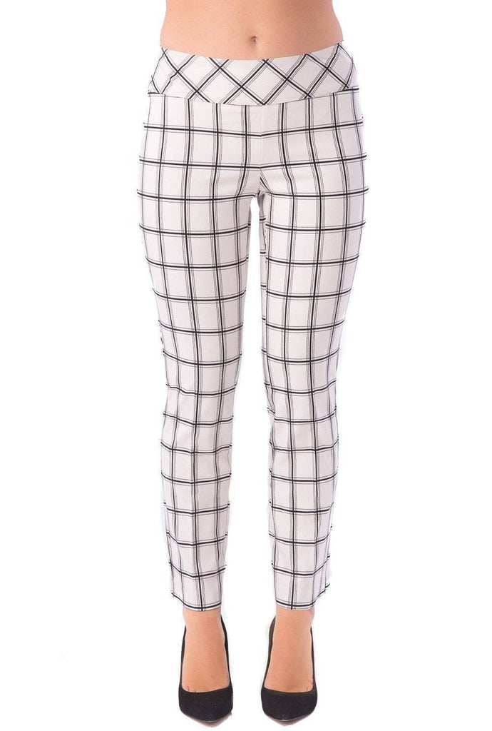UP! Womens Flatten and Flatter Slim Ankle Pants Checkers Color White-Black - A Dream Fit