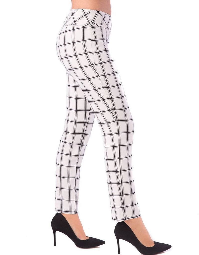 UP! Womens Flatten and Flatter Slim Ankle Pants Checkers Color White-Black - a-dream-fit.myshopify.com