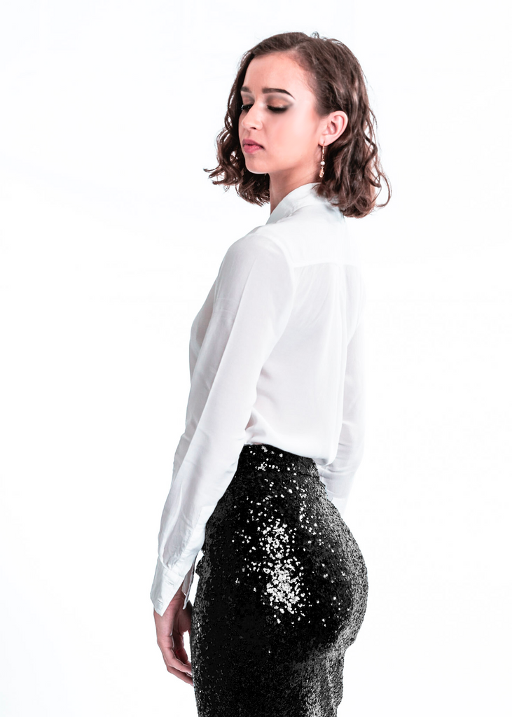 Nikki Sequin Skirt | Black