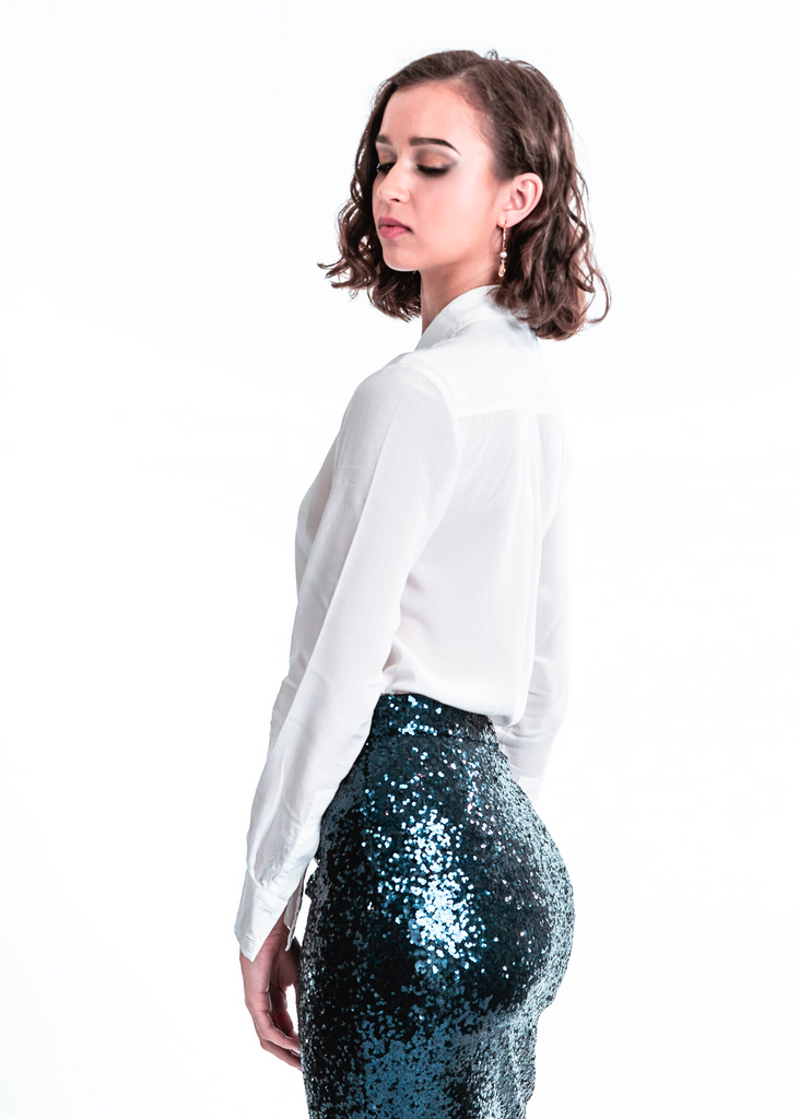 Nikki Sequin Skirt | Navy