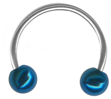 20g Blue End Ball Steel Circular Barbell Piercing Hoop
