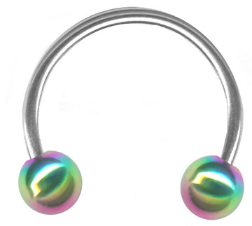 20g Rainbow End Ball Steel Circular Barbell Piercing Hoop