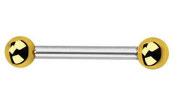 20g Gold Color End Ball Steel Straight Barbell-20 gauge Piercing Jewelry