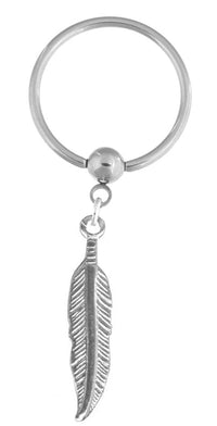 Dangle Feather Nipple Hoop Captive Ring-18g-16g-14g-12g-10g