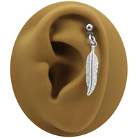 Dangle Feather Earring-20g-18g-16g-14g-12g Straight Piercing Barbell
