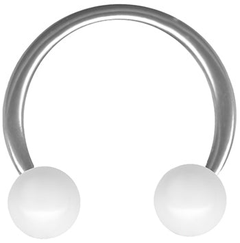 White Ball Circular Barbell-18g-16g Cartilage Earring-Lip Hoop-Septum Piercing Jewelry