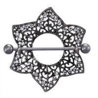 Midnight Sparkle Flower Nipple Ring Shield-16g-14g-12g Piercing Barbell