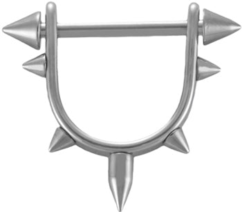 Stirrup Spike Nipple Ring 16g-14g-Shield and Straight Barbell