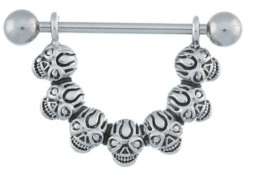 Skull Nipple Ring-16g-14g Stirrup Style Skull Shield-Steel Straight Barbell Nipple Piercing Jewelry
