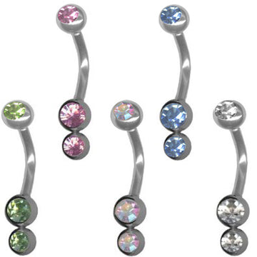 Pack of 5 Pastel Double Jeweled Vertical Hood Piercing Jewelry-14g VCH Curved Barbells