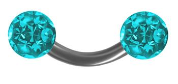 Turquoise Color Ferido Curved Barbell 14g Piercing Jewelry