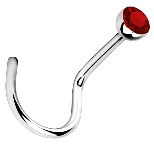1.5mm Dk. Red Jeweled Nose Screw 18g Steel Nostril Ring-7mm post