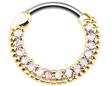 Petite Gold Color Pink Jeweled Clicker Piercing Hoop 16g Piercing Jewelry