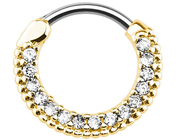 Petite Gold Color Clear Jeweled Clicker Piercing Hoop 16g Piercing Jewelry