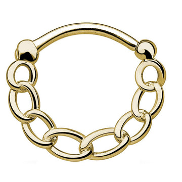 Gold Color Chain Link Clicker Piercing Hoop 16g Body Jewelry