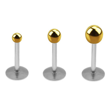 Set of 3 Gold Color Ball 20g Flat Back Earrings Triple Forward Helix Piercing Set