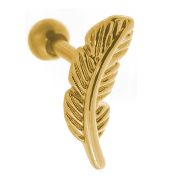 Gold Color Feather Cartilage Earring Stud 18g-16g Short Straight Helix Piercing Barbell