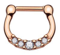 Small Imitation Rose Gold Clicker Piercing Hoop 16g All Steel Piercing Jewelry