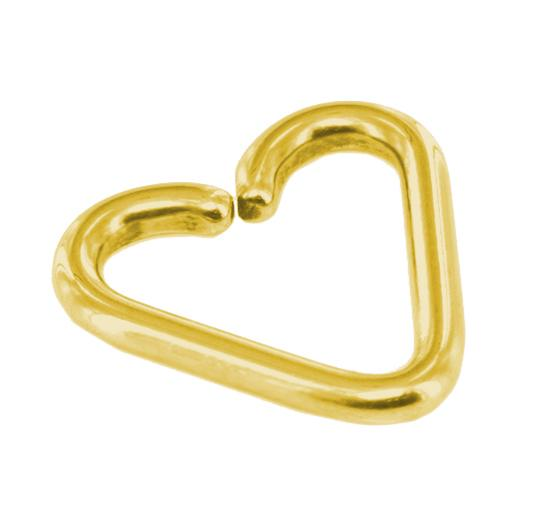 Gold Color Heart Daith Piercing Earring 18g Twist Open Steel Seamless Ring