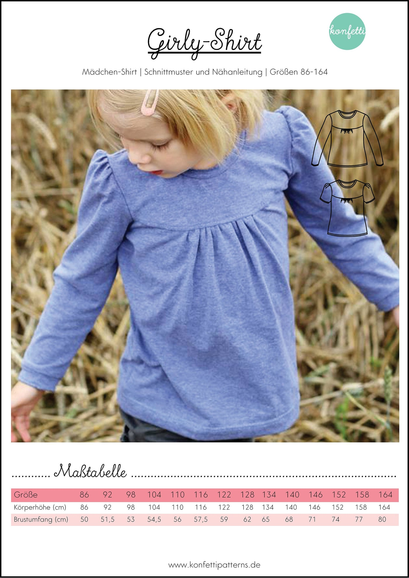 Girly Shirt Papierschnittmuster
