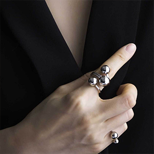 Handmade Silver Plated Statement Ring with Three Spheres