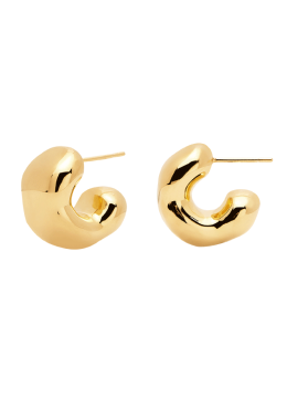 Handmade Chunky 18k Gold Plated Hoop Stud Earrings