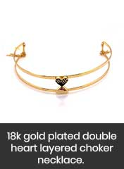 18k gold plated heart layered choker necklace, handmade in Italy